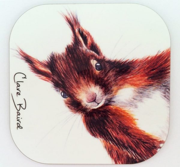 Red Squirrel Coaster by Clare Baird