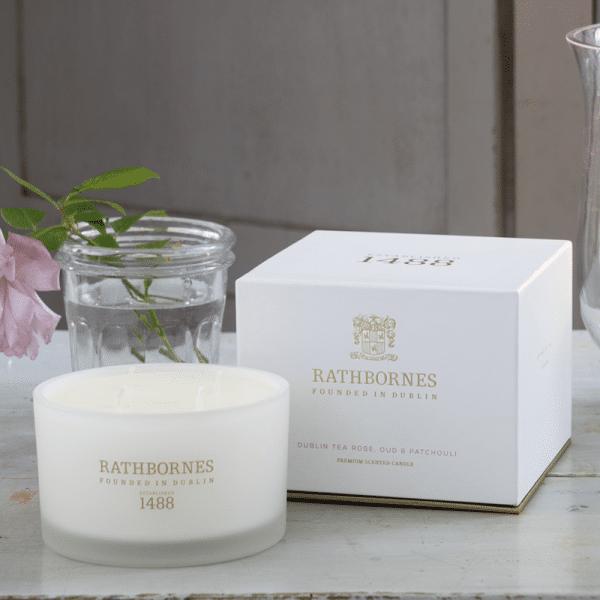 Luxury Candle - Dublin Tea Rose, Oud & Patchouli
