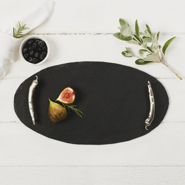 Just Slate - Slate Oval Serving Tray With Chilli Handles