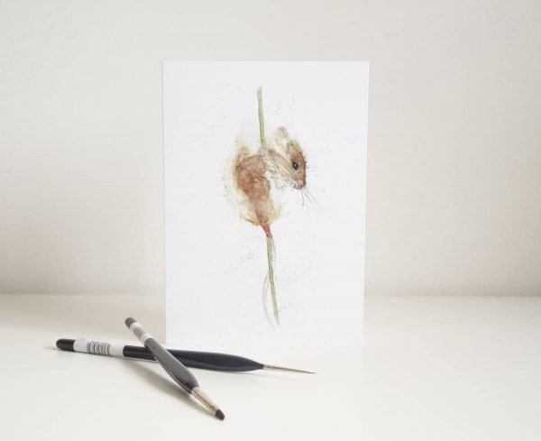 Watercolour Field Mouse Card - Thorns & Roseway