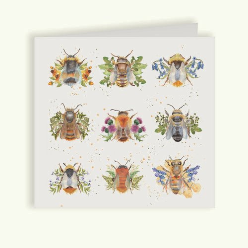 Bees Greetings Card - British Collection by Kate of Kensington