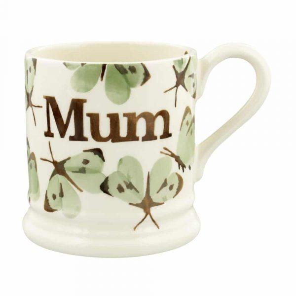 Emma Bridgewater Green Cabbage White Butterfly Mum 1/2 Pint Mug