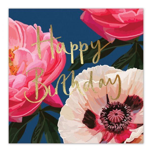 Happy Birthday Navy Pink Gold Greetings Card By Sarah Kelleher