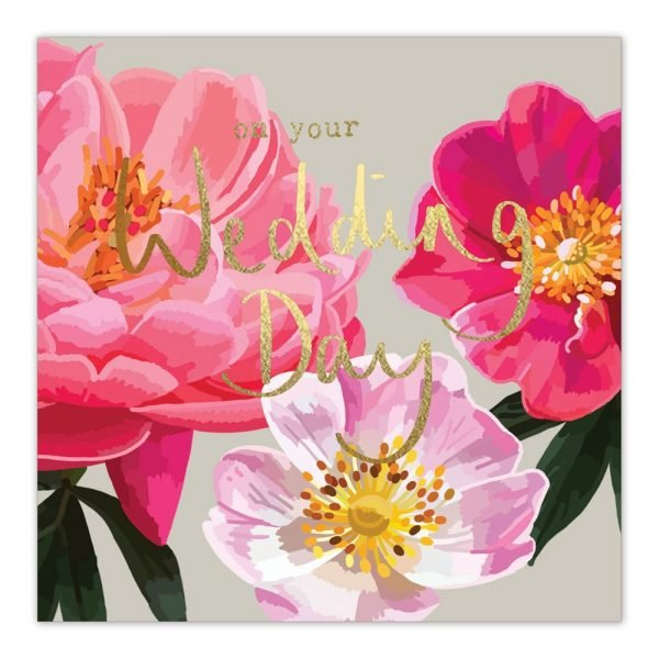 On Your Wedding Day Pink Gold Greetings Card By Sarah Kelleher