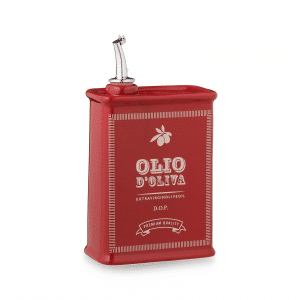 Vintage Ceramic Olive Oil Cruet (Red, 500ml) Handmade in Italy