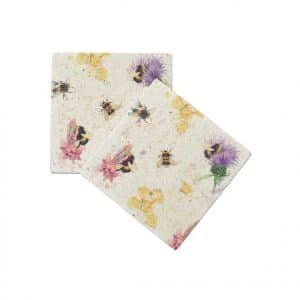 Thistle & Bee Coasters (pair) - Woodland Walk Collection by Kate of Kensington